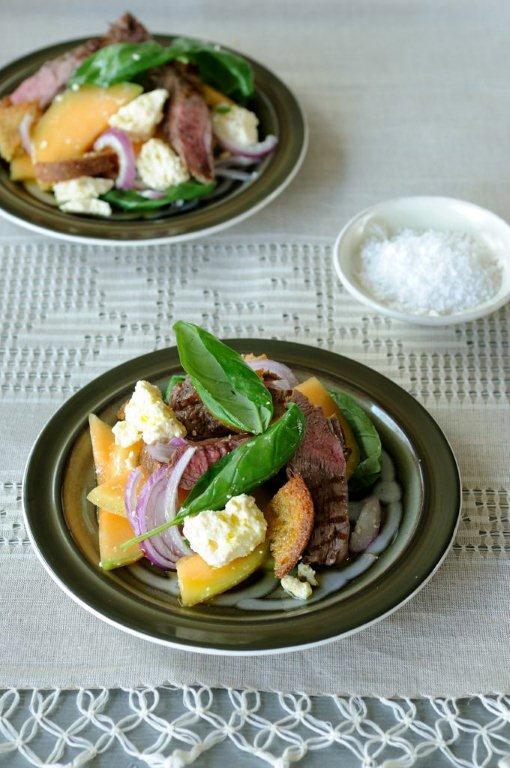 Melon, lamb, feta and rye bread salad