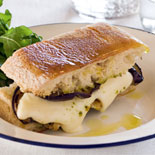 Eggplant, mozzarella & pesto ciabatta toastie with wild rocket