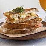 Last night's roast pork caramelized apple Sourdough toastie with sage butter