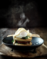 Smoked Chorizo Eggs Benedict on Loaf English Muffin