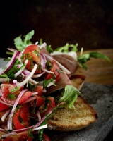 Rosemary and rye Bruchetta w  Prosciutto, Rocket and fresh tomato salsa