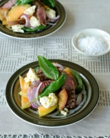 Melon, lamb, feta and rye bread salad