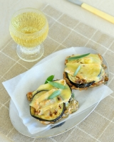 Toasted eggplant, taleggio and walnut sandwiches - gluten free