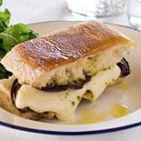 Eggplant, mozzarella & pesto ciabatta toastie with wild rocket