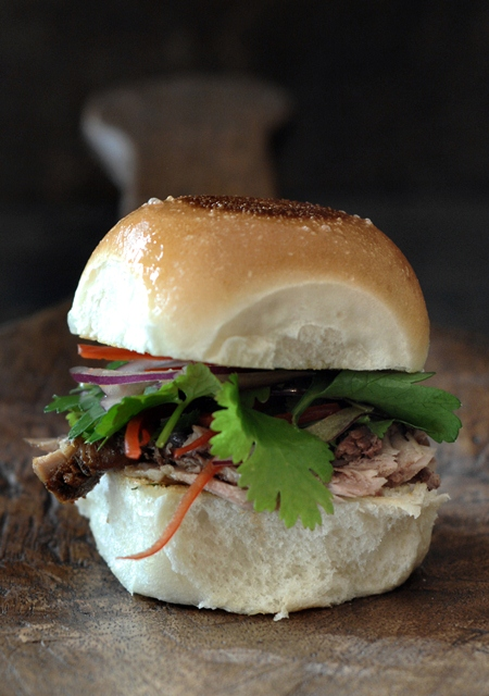 The Asian - Peking style confit duck with a spicy herb salad Sliders
