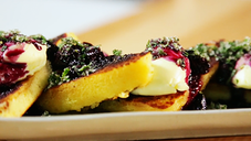 Grilled Lemon Loaf With Blueberry Compote, Mascarpone & Mint Sugar